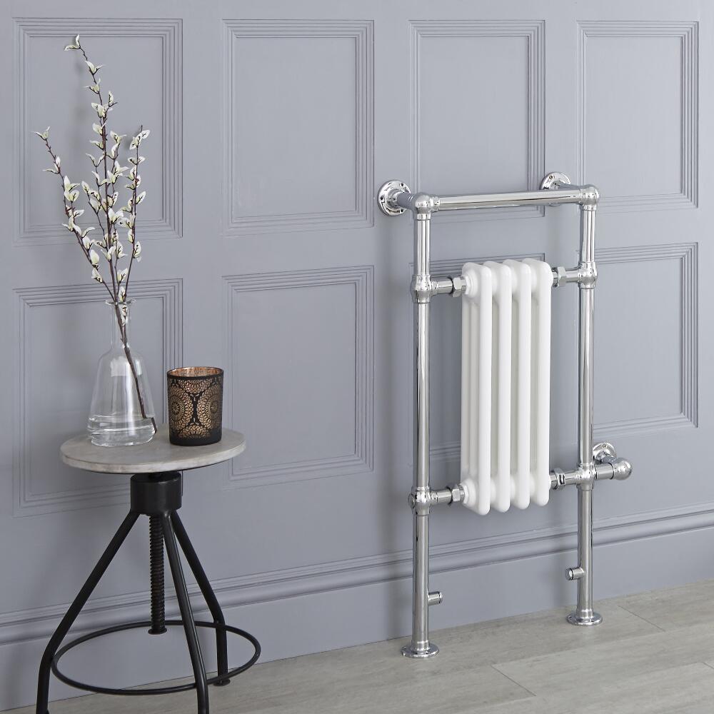 Milano Elizabeth - White Traditional Electric Heated Towel Rail - 930mm x 452mm