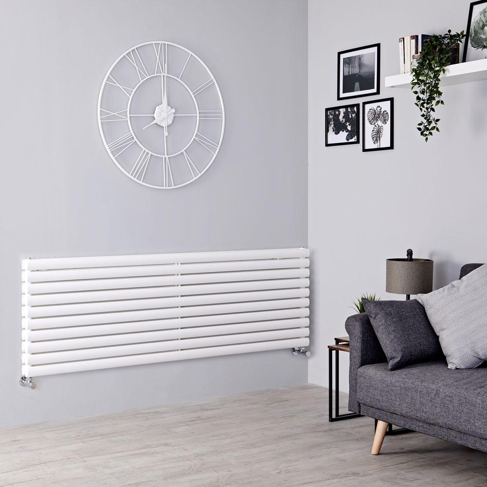 Milano Aruba - White Horizontal Designer Radiator 590mm x 1780mm (Double Panel)